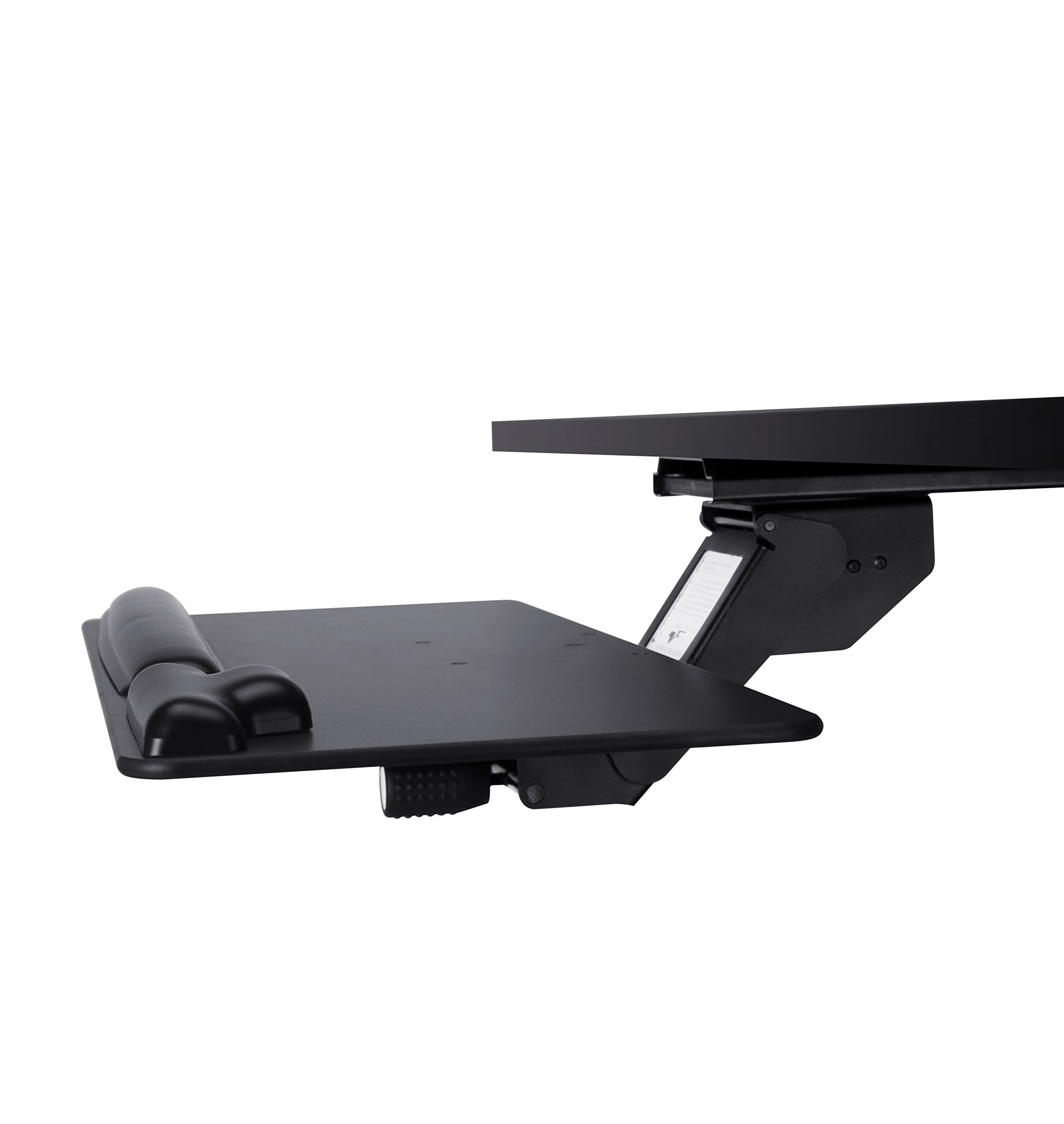 Keyboard Tray with Wood Platform, Just Lift to Adjust Height, Simply Turn Knob to Tilt, Swivels Under Desk, with Gel Wrist Rest and Mouse Pad