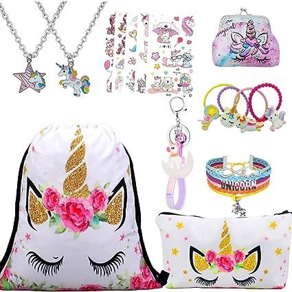 RLGPBON Unicorn Gifts for Girls 5 Pack Drawstring Backpack//Makeup Bag//Unicorn Pendant Necklace//Bracelet//Hair Ties