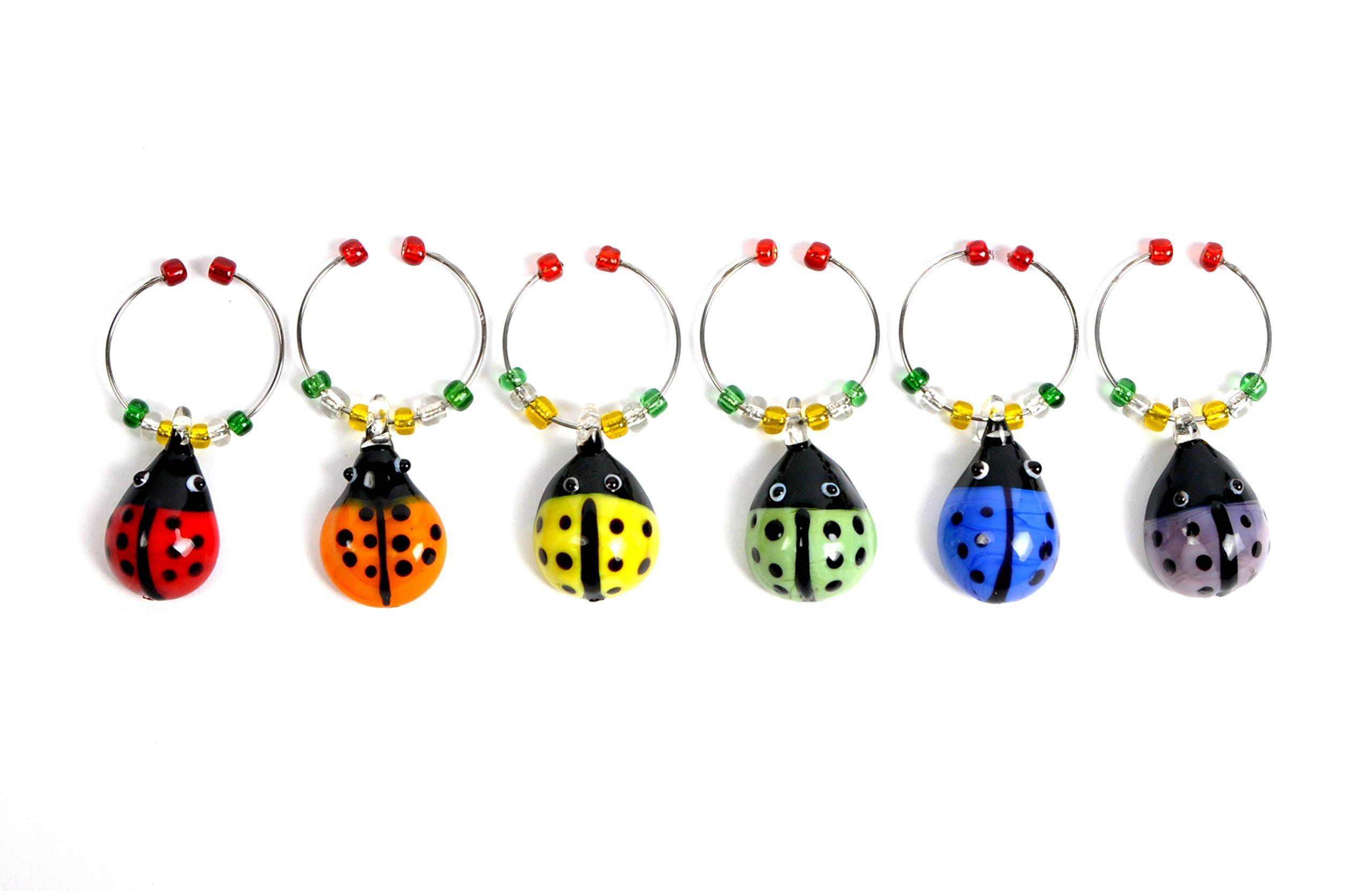 Cork & Leaf  Glass LadyBug Wine Glass Charms, Hand Painted Glass - Set of 6 with Sateen Storage Bag