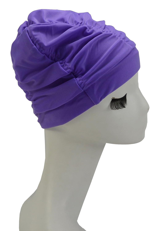 Swim Cap Long Hair Ear Wrap Waterproof Hat for Women and Men Purple