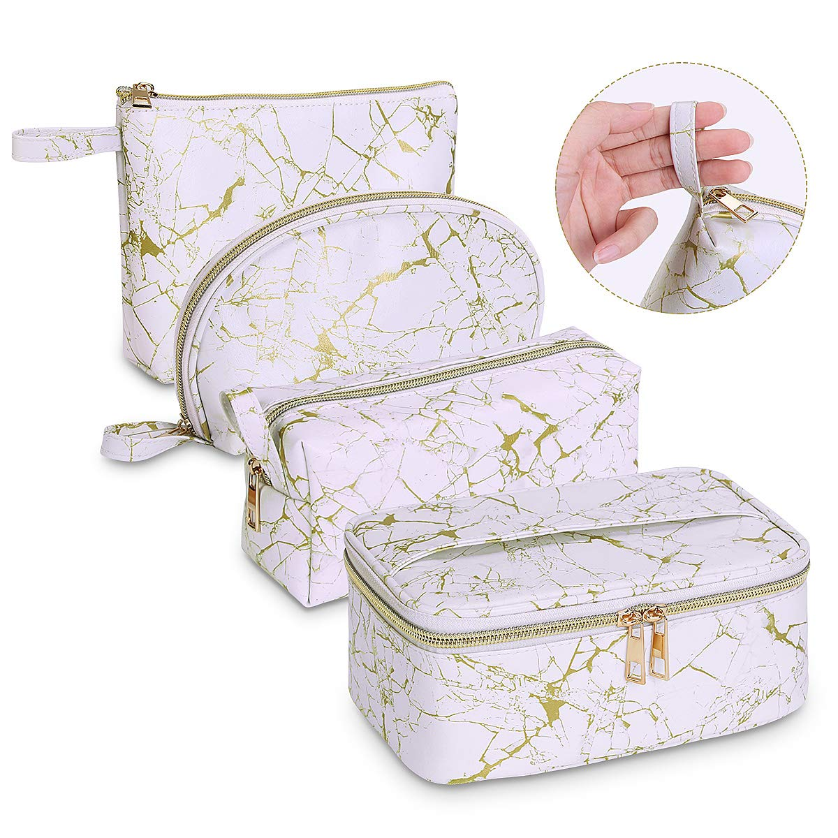 MAGEFY Makeup Bags- 4Pcs Portable Travel Cosmetic Bag Waterproof Organizer Multipurpose Case with Gold Zipper Toiletry Bags for Women Girls, Golden White Marble