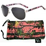 Hornz Camuflaje del Rosa polarizados Gafas de Aviador para Las Mujeres y Que Coinciden con Bolsa…