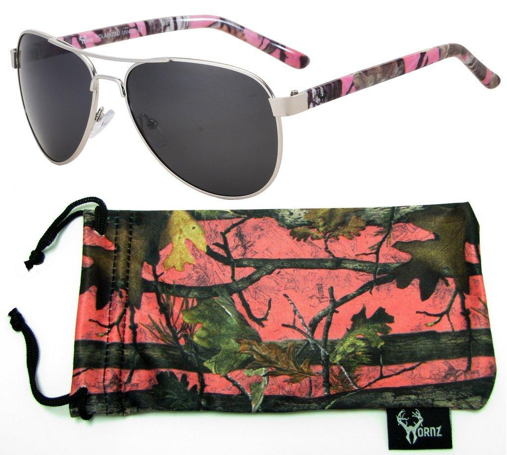 Hornz rose camouflage polarisée lunettes de soleil aviateur pour les femmes et l'appariement libre pochette en microfibres – Moyenne à grande taille de visage – Hot Cadre camo rose – Ambre lentille s9KEvtl