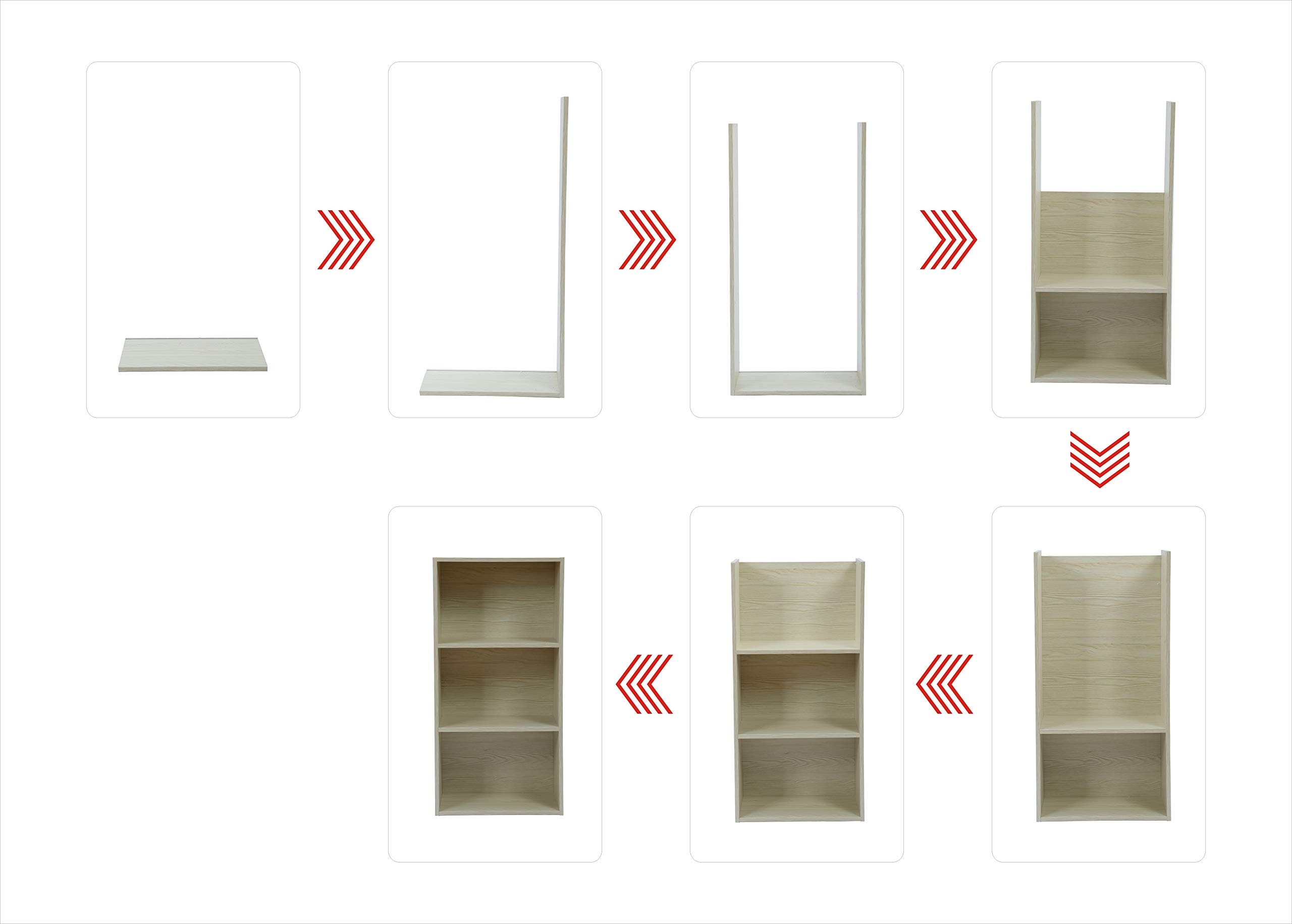 JEROAL 3-Shelf Wooden Bookshelf, 3 Cube Storage Organizer, Display Bookshelf Storage Organizer for Books, Pictures, Decorations, White Oak by JEROAL (Image #5)