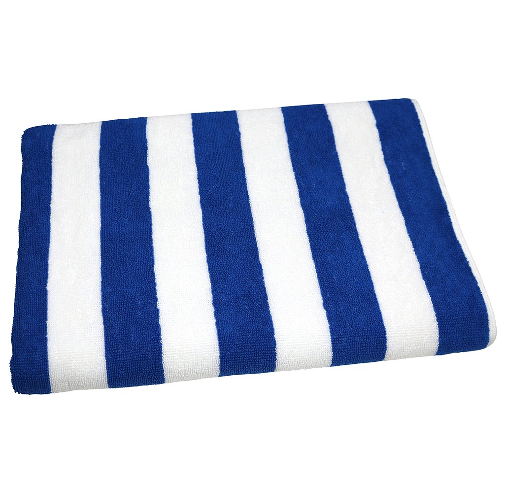 RC ROYAL CREST by Sigmatex - Lanier Textiles Cabana Stripe Beach Pool Towel Hotel Quality 100% Cotton 1 Pack. (Wedgewood Blue Stripes)
