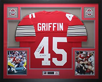 f46dd55cb Archie Griffin Autographed Red Ohio State Jersey - Beautifully Matted and  Framed - Hand Signed By