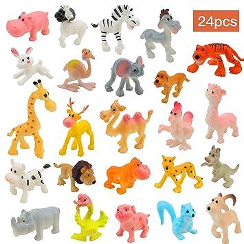 OOTSR 24Pcs Mini plástico Animales de Granja y Animales Salvajes de la Selva Juguetes Figuras para niños Aprendizaje Playset Educativo Favores de ...