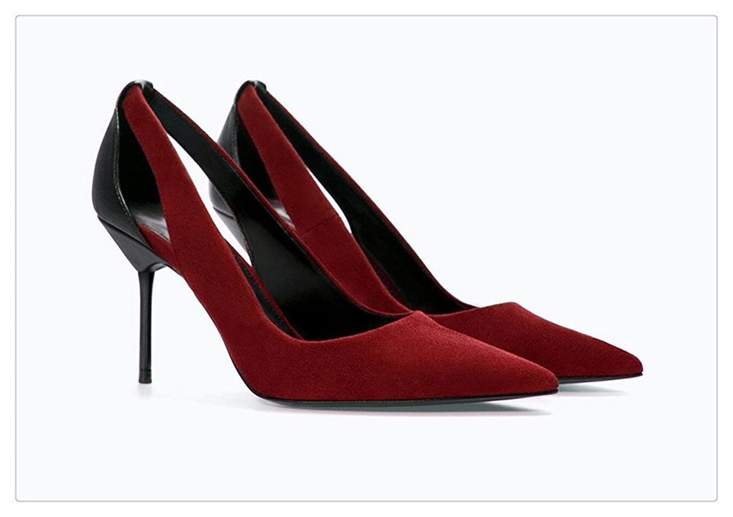 Rritoce Ladies Hollow Out Leather Pointed Toe Stiletto Dress Pump Party High Heels Cute