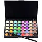 "Buedvo Cosmetic Matte Eyeshadow Cream Makeup Palette Shimmer 40 Colors Set + Brush (6""x4""x0.35"", B)"
