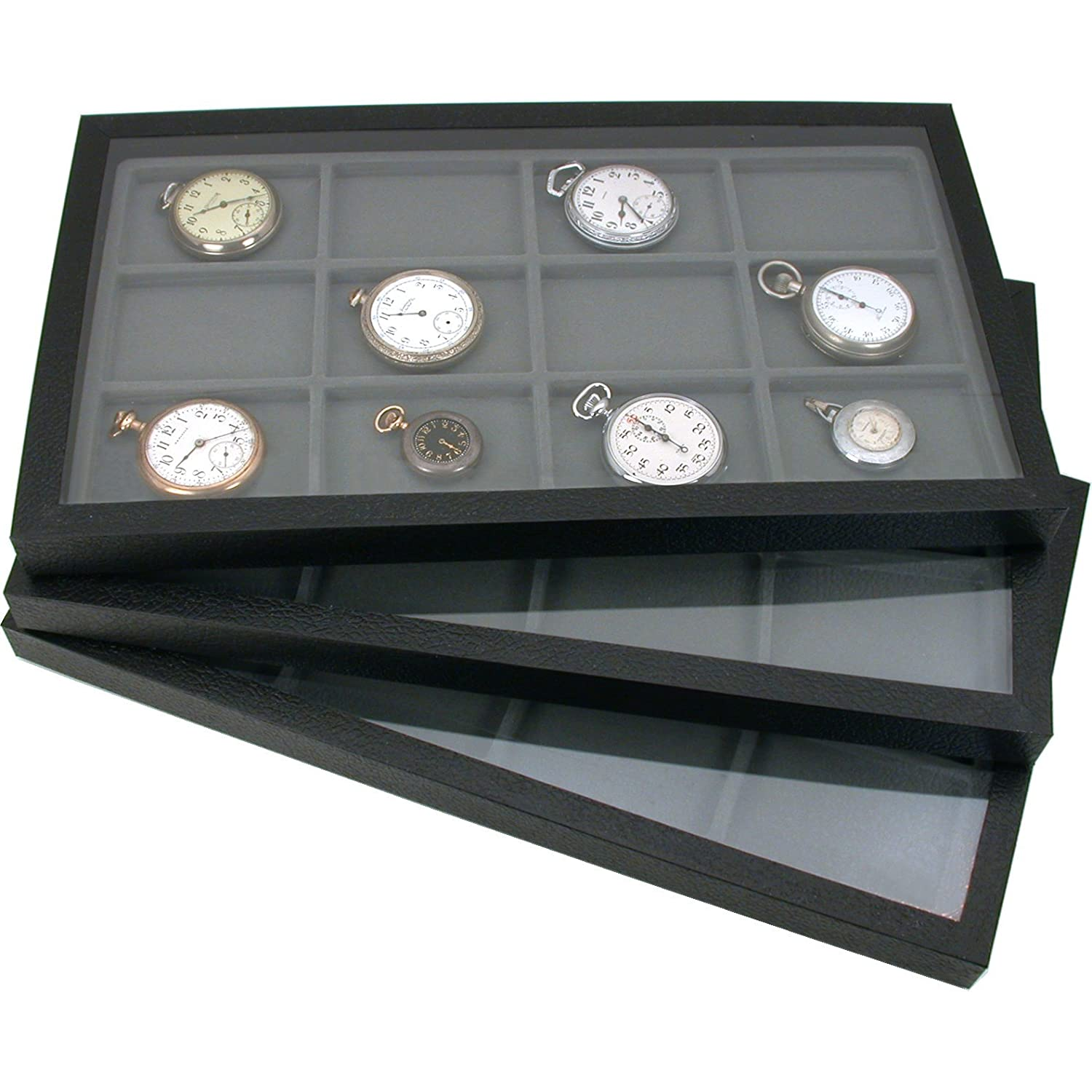 6 Jewelry Box Displays Trays Cases Gray Inserts New KIT-10265