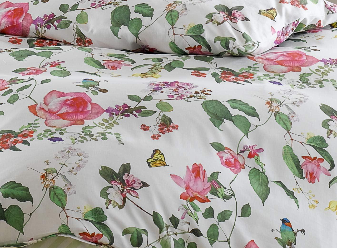 Janine Mako Satin Bettwäsche Milano 45000-06 oase grün Schmetterling Vogel Baum