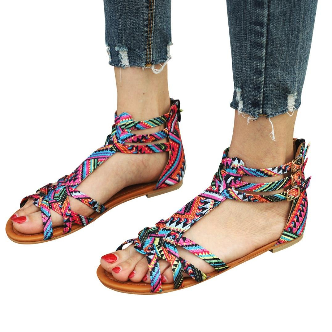 vermers Clearance Sale Bohemia Sandals for Women - Ethnic Style Flats Buckle Strap Shoes(US:5.5, Pink) by vermers