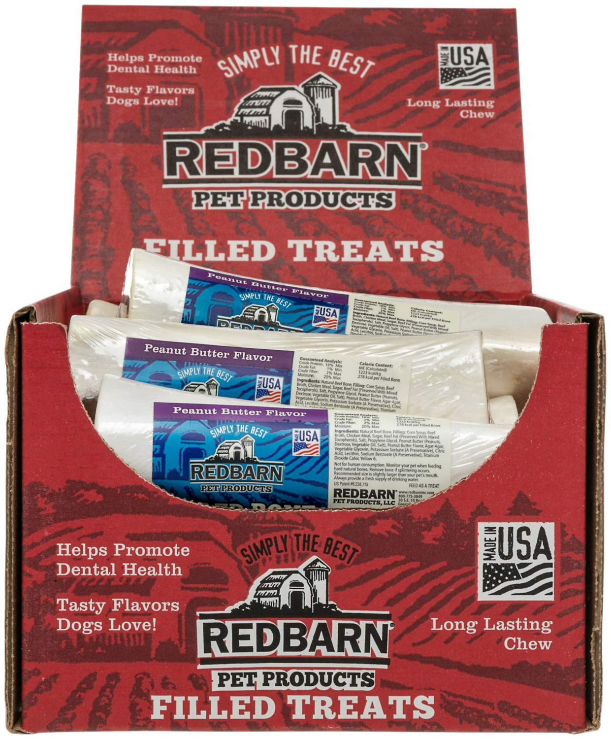 15 Count Redbarn Filled Bone, 6'', Peanut Butter by Redbarn Pet Products