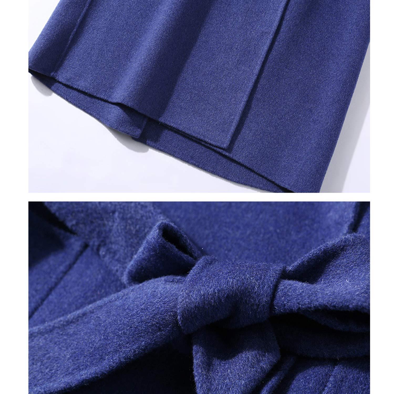 Women's Autumn Winter Hooded Windbreaker Long Warm Woolen Windproof Coat Ladies Girls Shopping Travelling Outwear,bluee