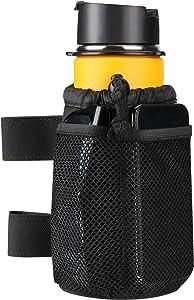 Wiicare Cup Holder, Wheelchair Cup Holder with Straps Mount and 2 Mesh Pockets, Walker Drink Cup Holder Universal Water Bottle Holder for Rollator, Scooter, Bike, Golf Cart, ATV UTV