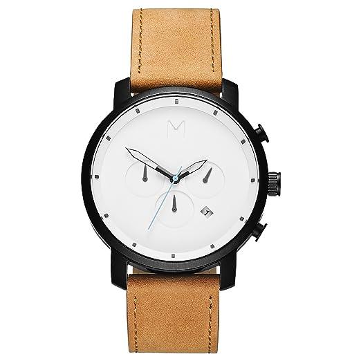 MVMT - Chrono Series – Reloj de 45 mm blanco y negro / cuero color tostado: Amazon.es: Relojes
