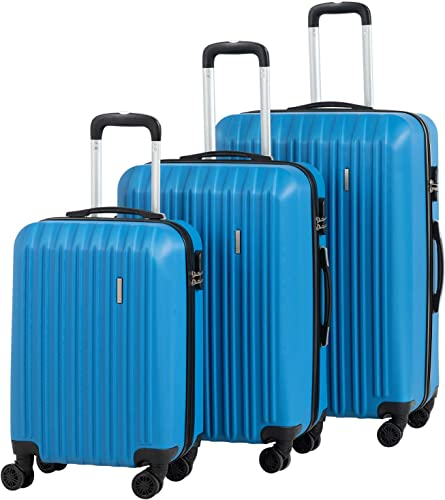 Murtisol Travel 3 Pieces ABS Luggage Sets Hardside Spinner Lightweight Durable Spinner Suitcase 20 24 28 , 3PCS Blue