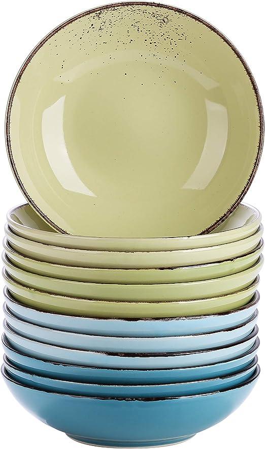 vancasso Serie Navia Oceano Platos Hondos 4 Piezas Juego de Platos de Sopa Fruta Vajillas Esmaltada Gres Aqua Blue Vajillas Retro Ensalada
