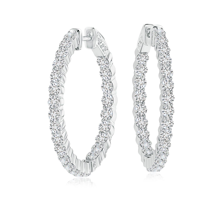 f0c3bba0a6b3f Amazon.com: Shared Prong Lab Grown Diamond Inside Out Hoop Earrings ...