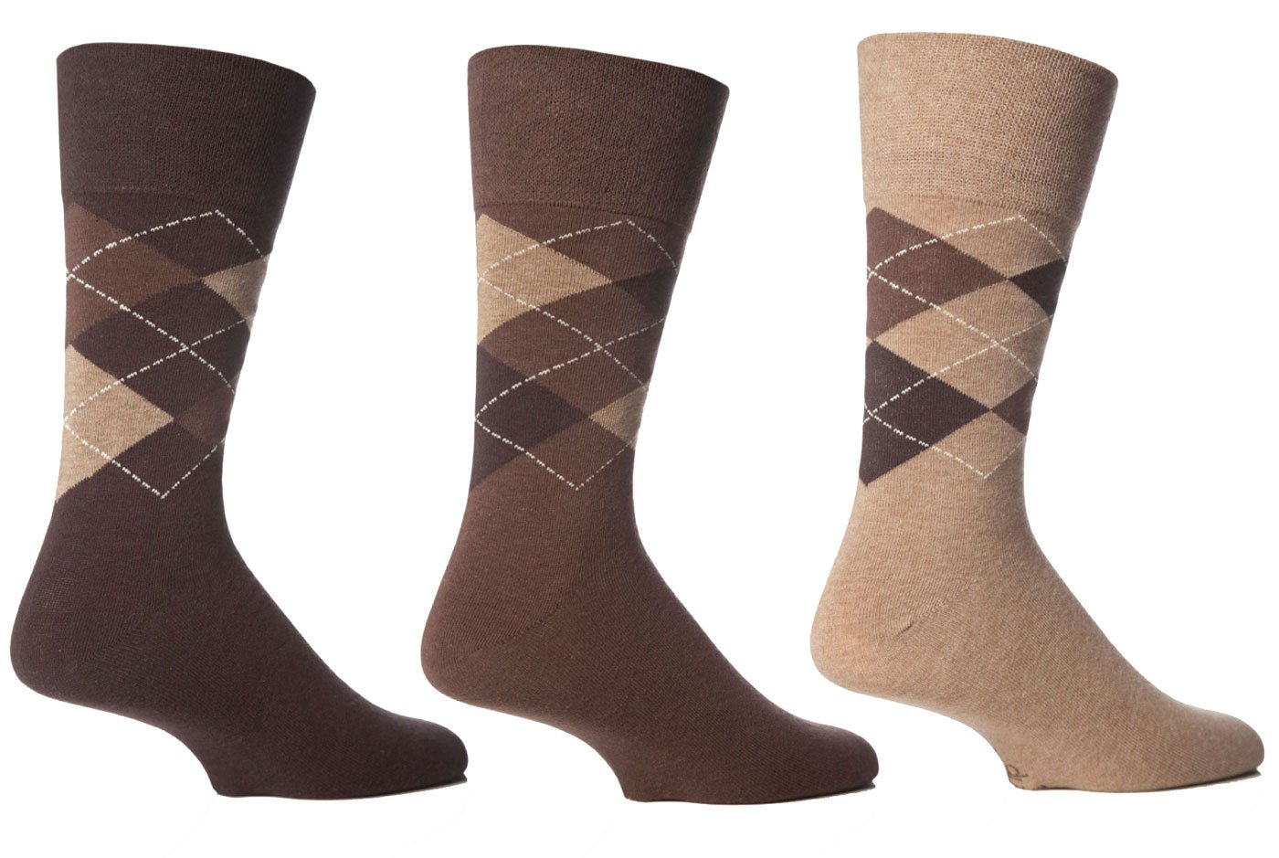 3 Pairs Mens Gentle Grip HoneyCombe Top Non Elastic Socks by Drew Brady / Various Colour Designs to Choose From / UK Sizes 6-11 and 12-14