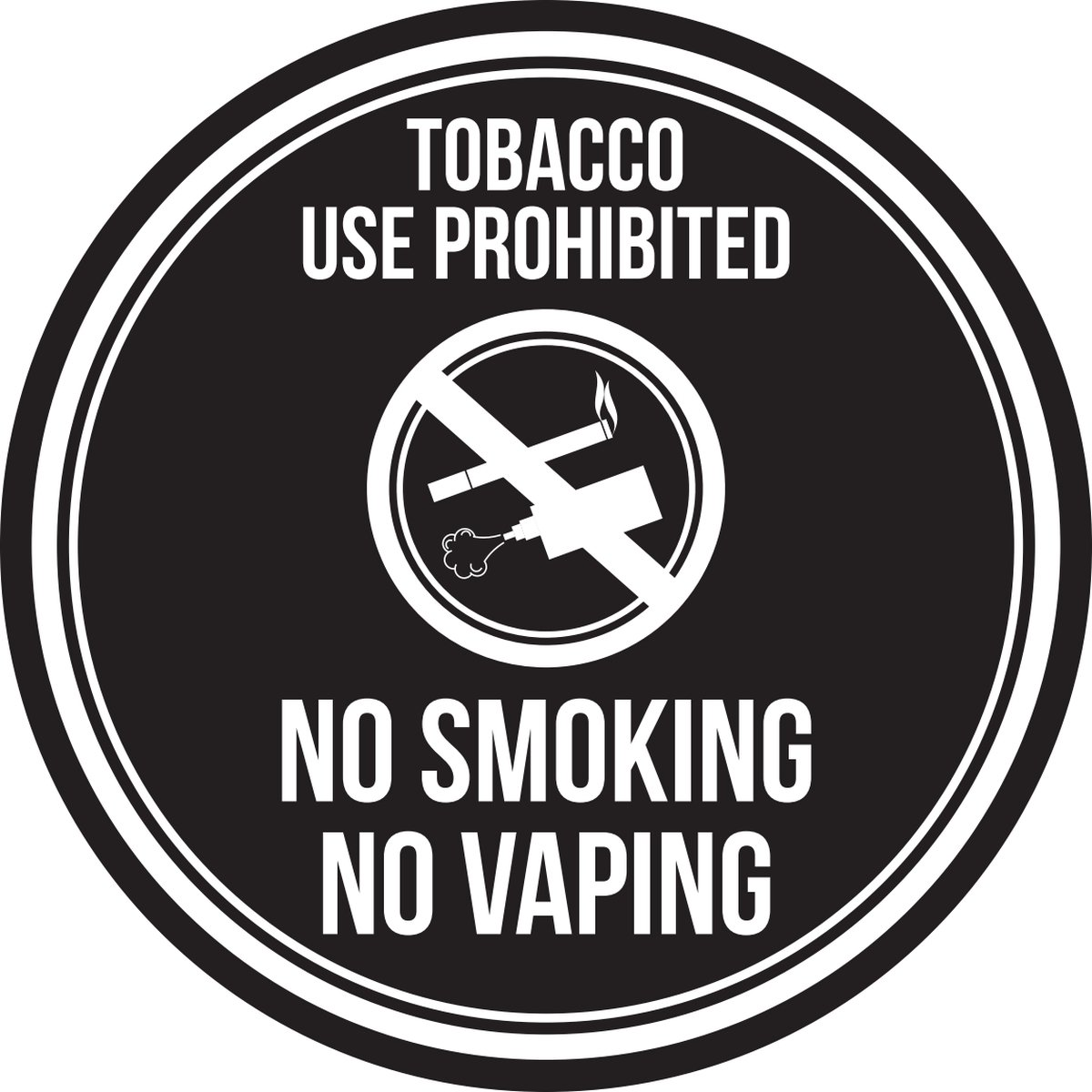 iCandy Products Inc Tobacco Use Prohibited No Smoking No Vaping Black & White Business Commercial Safety Warning Round Sign - 12 Inch, Metal