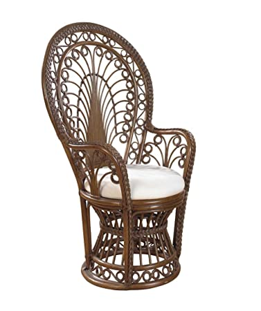 Rattan Peacock Chair With Cushion Antique