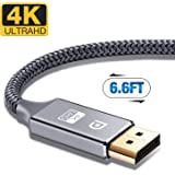 DisplayPort Cable,Capshi 4K DP Cable Nylon Braided -(4K@60Hz, 1440p@144Hz) Ultra High Speed DisplayPort to DisplayPort Cable 6.6ft for Laptop PC TV etc- Gaming Monitor Cable (Grey)