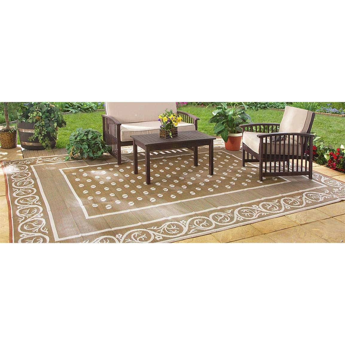 Guide Gear Reversible 6' x 9' Outdoor Rug, Scroll Pattern