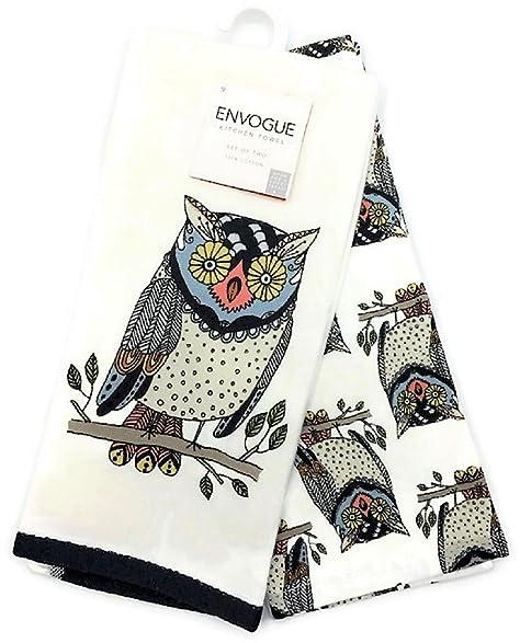 Owl Kitchen Towels   Amazon Com Envogue Decorative Owls Kitchen Towel Set Home Kitchen