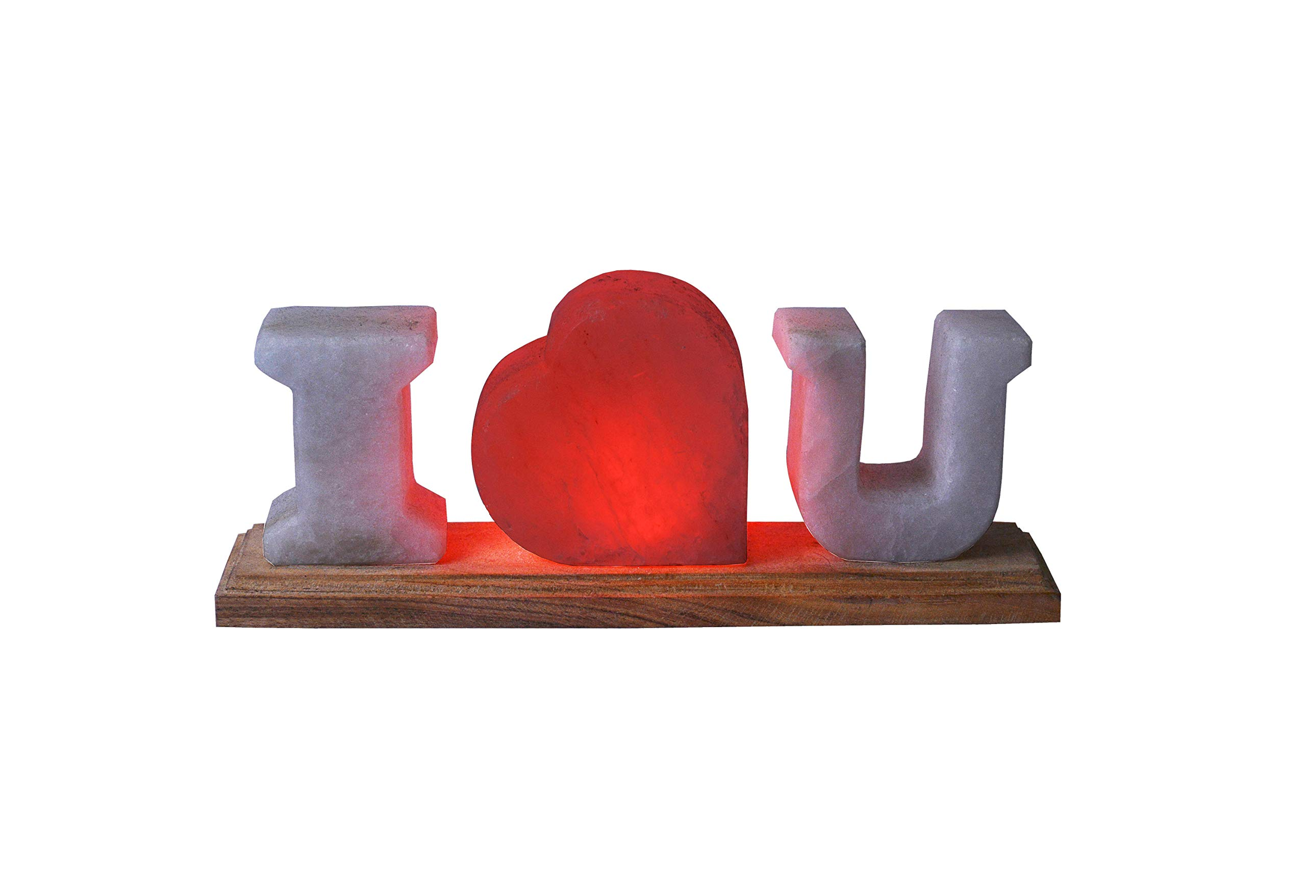 I Love You Shaped Crystal Rock Salt Lamp - Combination of Himalayan Pink and Crystal White Salt - Romantic Novelty for Holiday Gift, Anniversary, Birthday, Christmas, Valentine's Day - SENSE OF GLOW