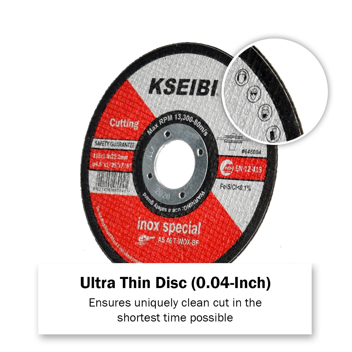 KSEIBI 50 Pack 646004 Angle Grinder Cut Off Wheels for Cutting Metal Stainless Steel 4-1//2x0.040x7//8 Type 41 Ultra Thin Disc