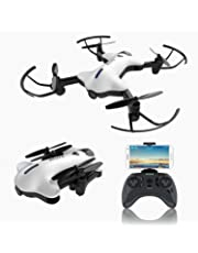 ATOYX AT-146 FPV Foldable RC Drone, Optical Flow Position 720P Wide Angle HD Camera Live Video WiFi Quadcopter With Altitude Hold Headless Mode 3D Flips One Key Take-Off/Landing RC Helicopter for Beginners and Kids (White)