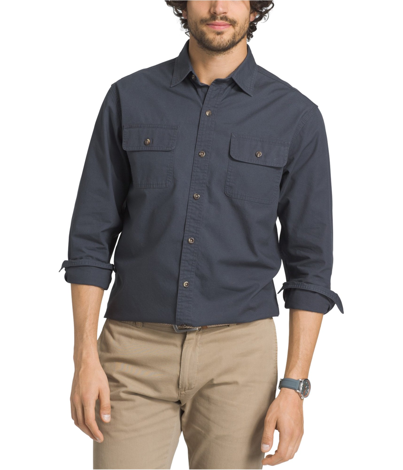 0fe20bc08c0 G.H. Bass   Co. Men s Essential Double Pocket Textured Long Sleeve Shirt