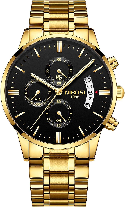 NIBOSI 2309-MKHMgd - Reloj de pulsera para hombre (resistente al agua, cuarzo, correa de acero inoxidable)