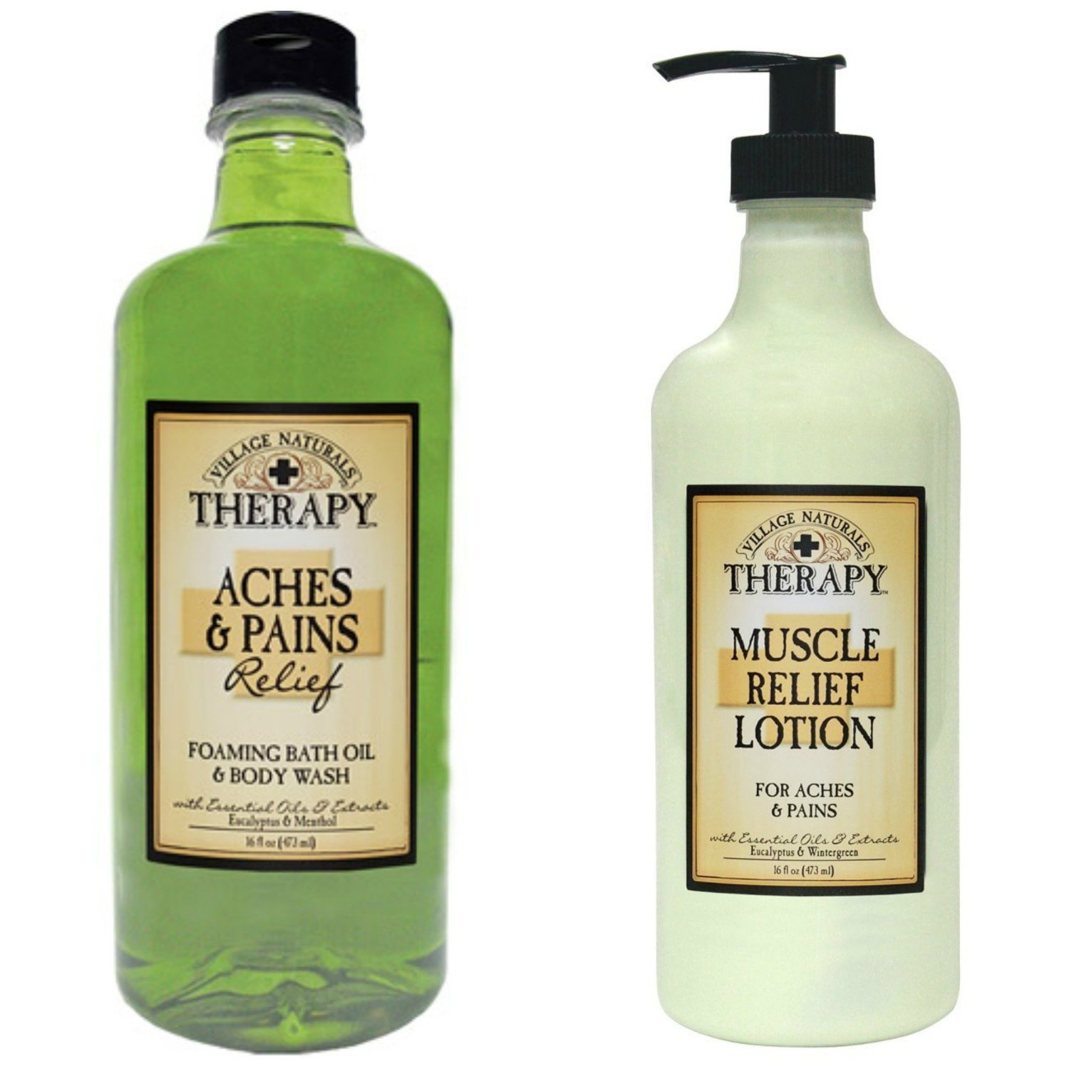 Village Naturals Muscle Aches & Pains Relief Lotion & Foaming Bath Oil Body Wash Relaxing Set by Village Naturals