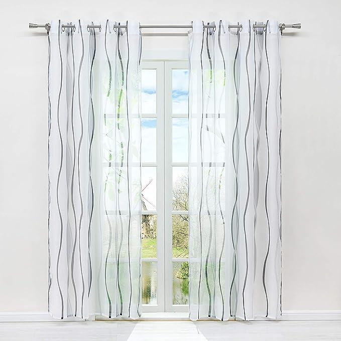 1 St/ück 200 x 80cm Hunpta @ Voile Vorhang mit Tunneldurchzug Einfach Einfarbig Transparent Gardine Wohnzimmer Schlafzimmer Fenstervorhang Fenster Dekor