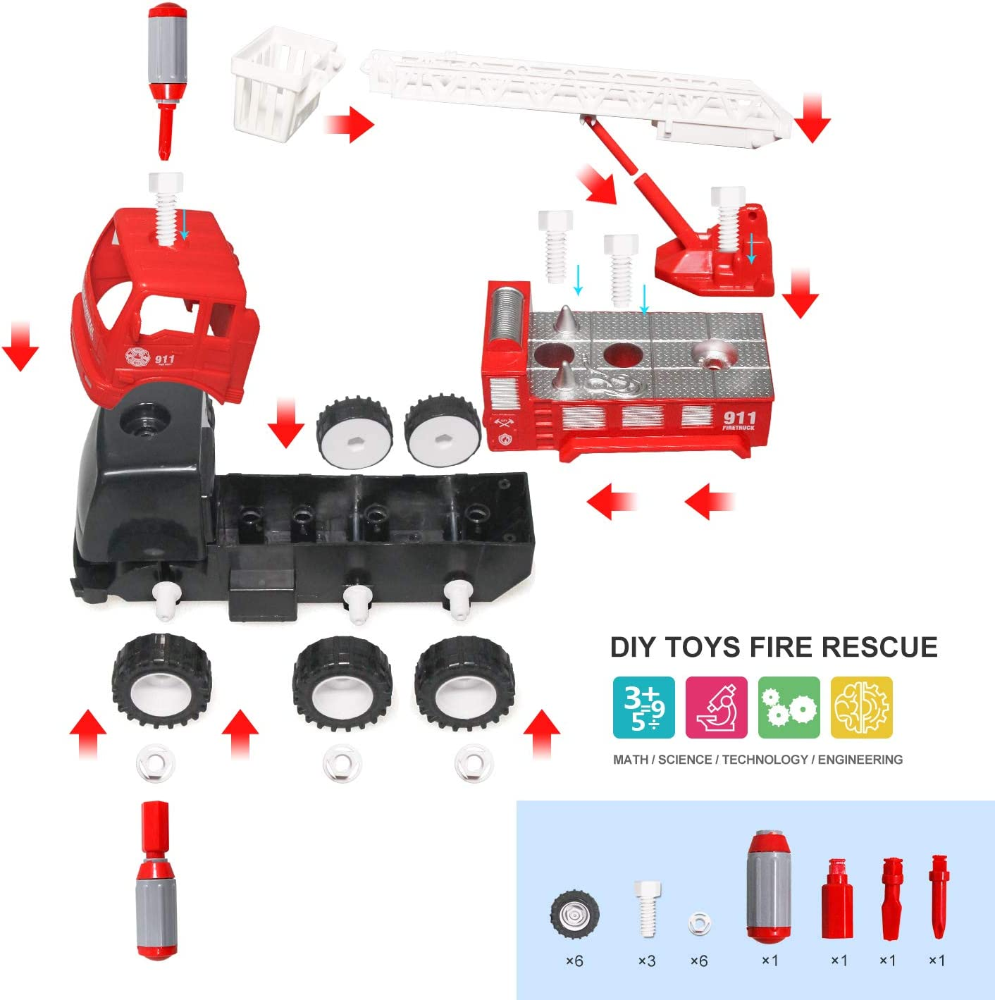 YesToys Fire Truck Toy Vehicles Friction Power,Extending Rescue Rotating Ladder Construction Toys,Sounds and Lights for Toddlers Boys,1:16 Scale Red