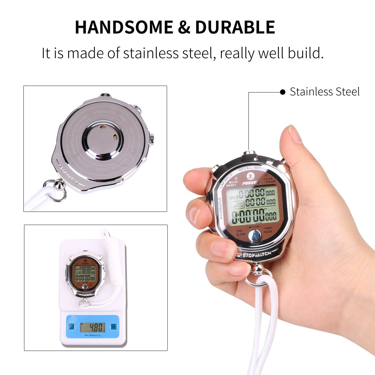 AIMILAR Stainless Steel Digital Sports Stopwatch Timer Alarm Clock Large Display and Button with Lanyard for Men Women Trainers Coaching Training by AIMILAR (Image #2)