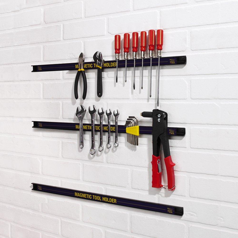 paquet de 3 Work Expert Porte-outil de mur de garage magn/étique chaque porte-outil mesure 24 po de longueur