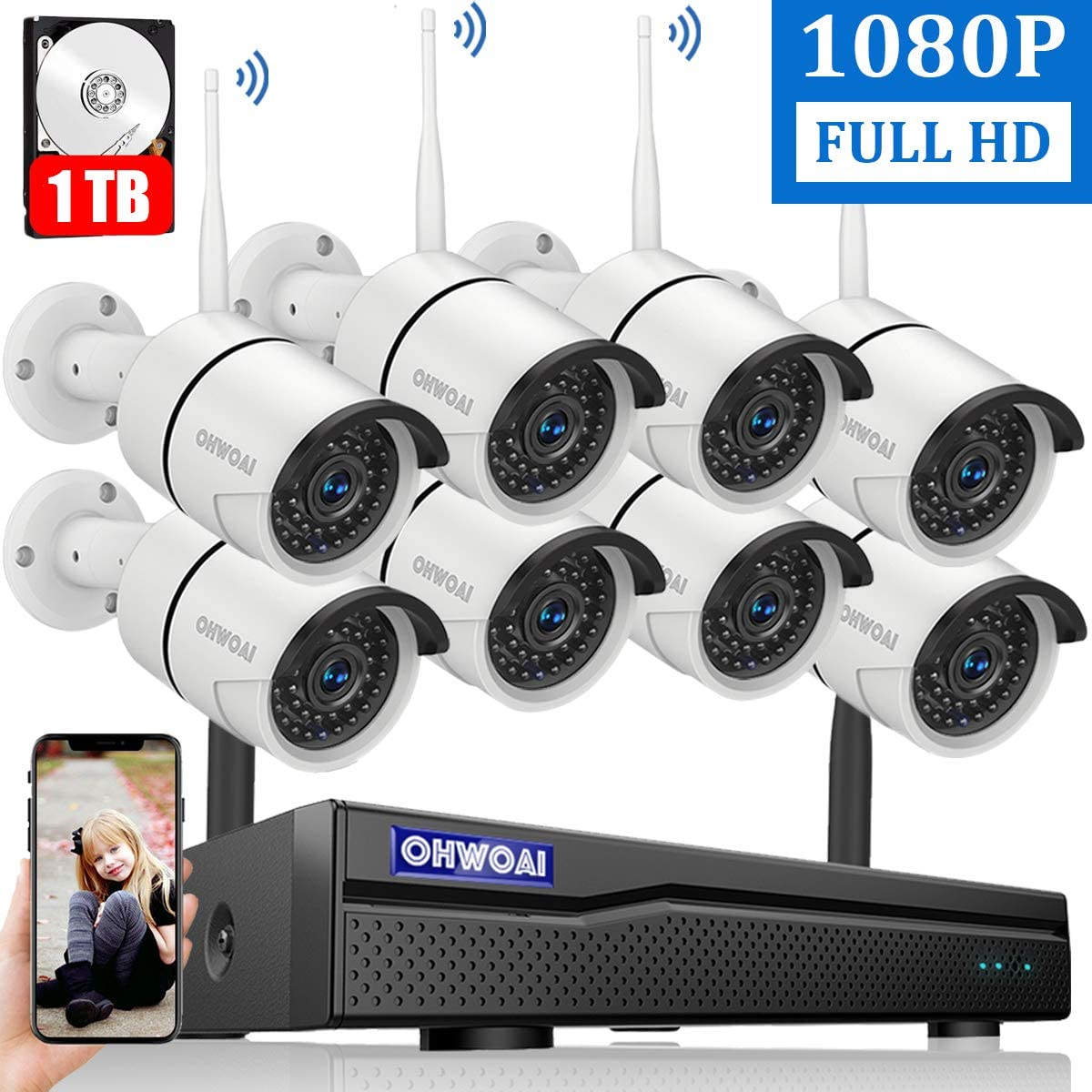 【2020 New】 Security Camera System Wireless, 8 Channel 1080P NVR with 1TB Hard Drive, 8PCS 1080P CCTV Cameras for Homes,OHWOAI HD Surveillance Video Security System,Outdoor Wireless IP Cameras 71vyTzthwdL