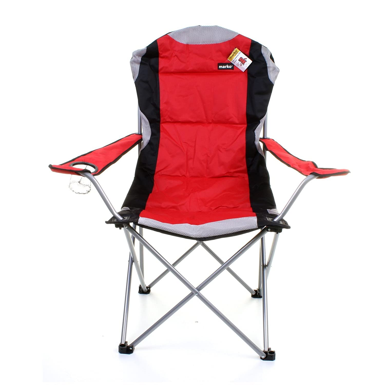 Marko Outdoor Red & Grey Heavy Duty Deluxe Padded Folding steel
