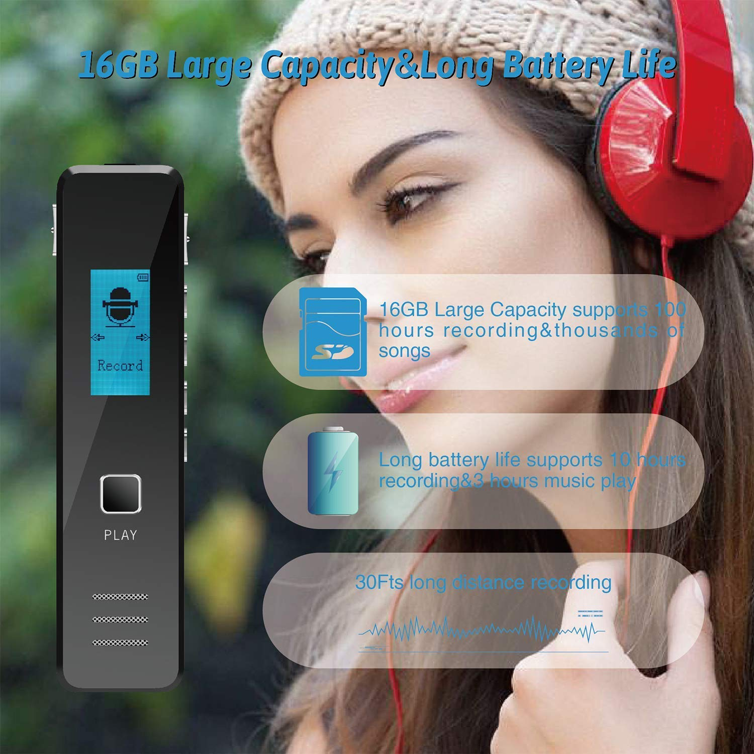 Digital Voice Recorder Mini Portable Voice 8GB 1536Kbps Dictaphone MP3 Player Rechargeable Recording Voice Activated//Double Microphone for Recording Interviews,Conversation,Meetings /…