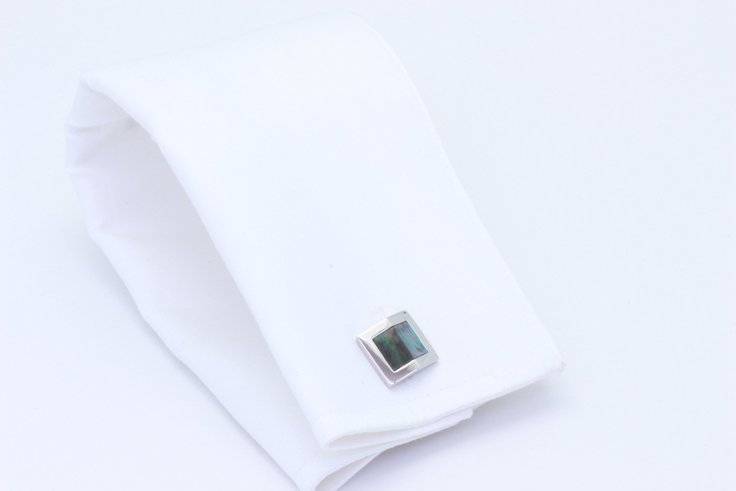 Zsamuel Mens Sterling Silver Black Mother of Pearl Gable Design Cufflinks by Z.Samuel (Image #4)