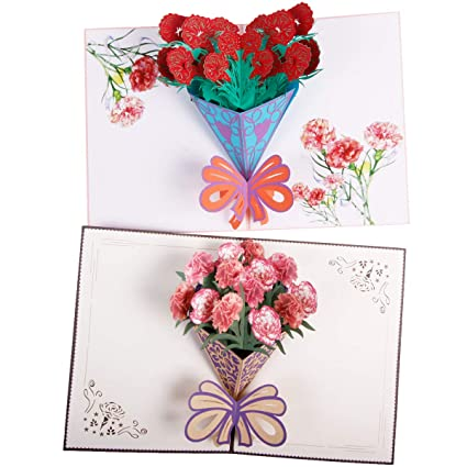 Amazon Caramella Bubble Carnation Pop Up Cards