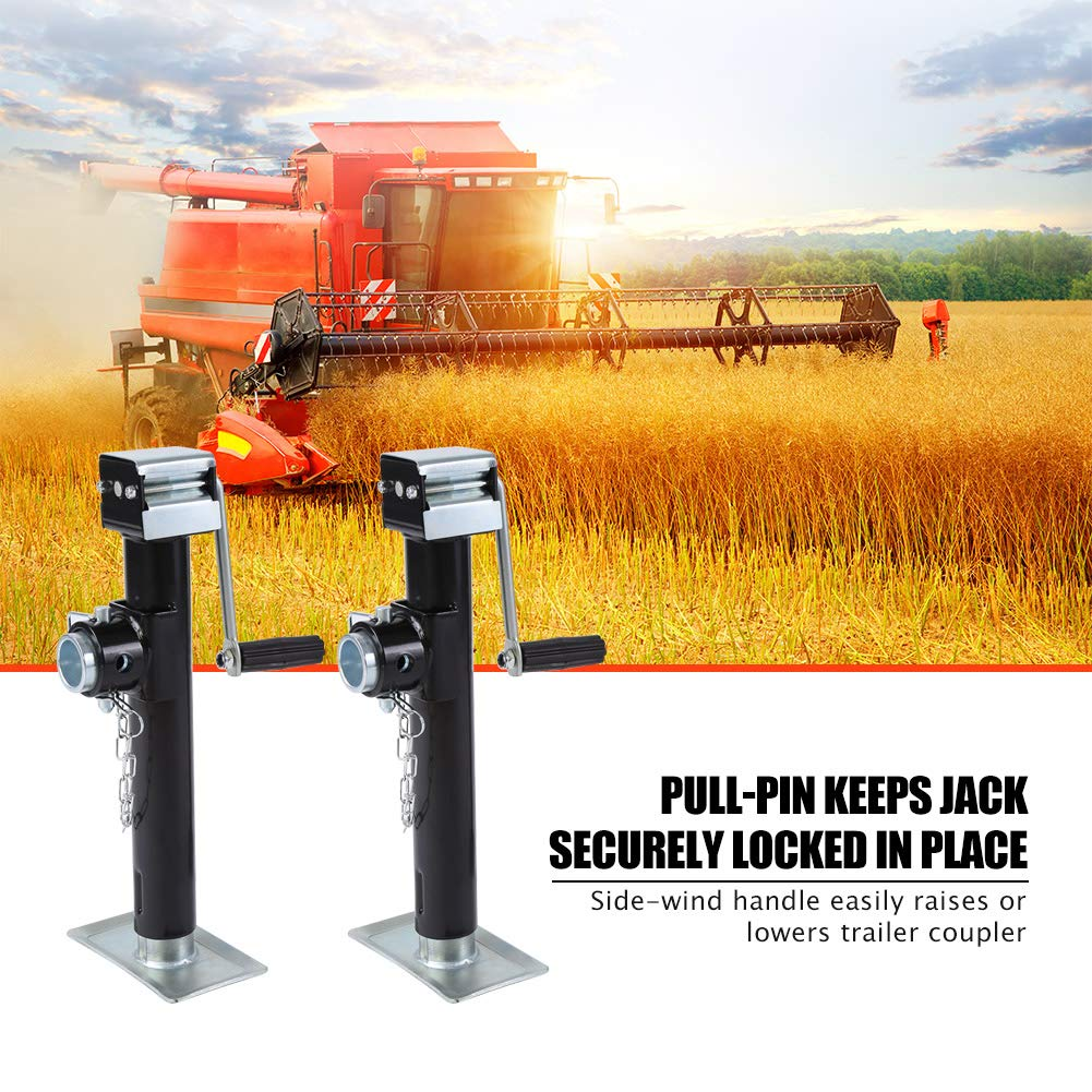 Side Wind Square Trailer Legs 2200lbs Bearing Capacity Tubular Swivel Trailer Jack with Pipe Mount and Foot Plate Drop Leg Trailer Jack 2pcs