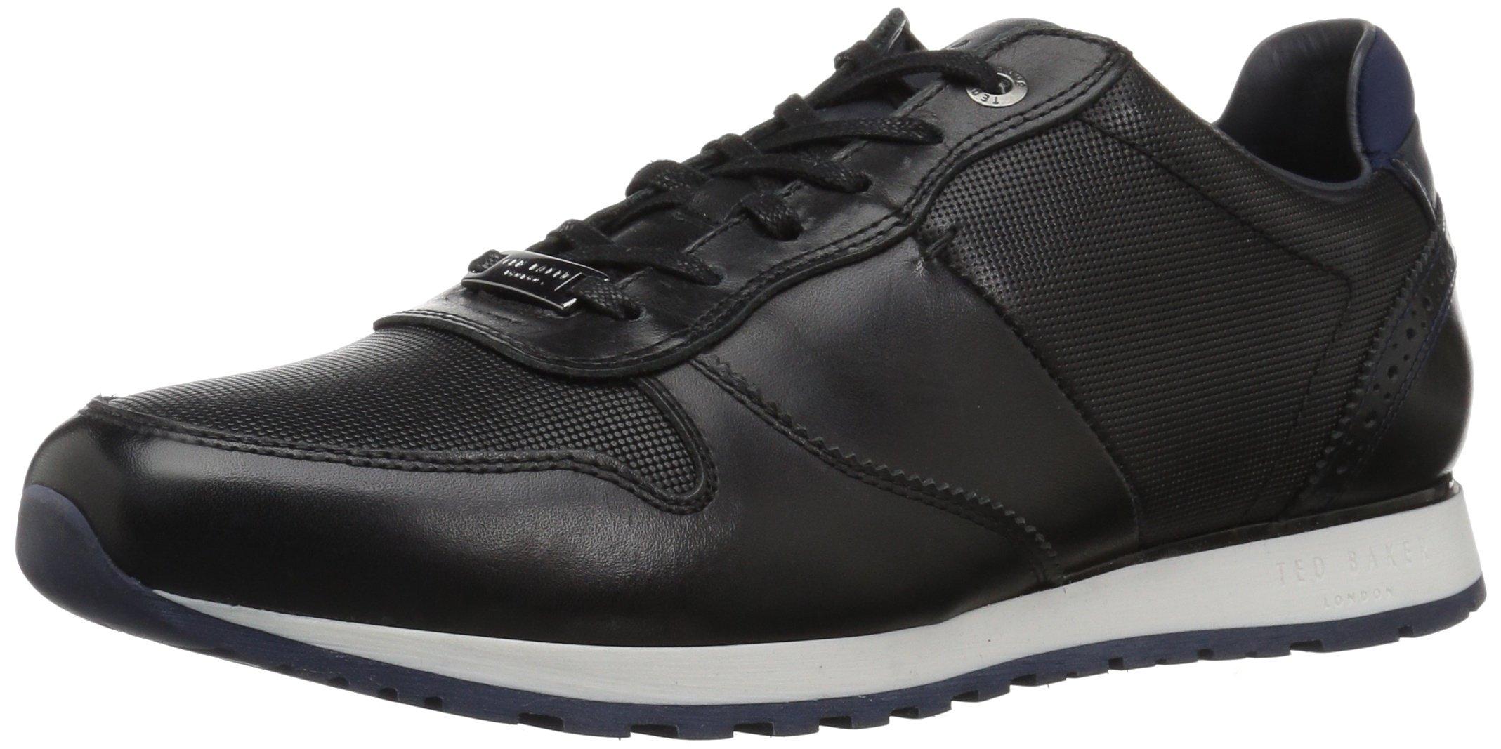 Ted Baker Men's Shindl Sneaker, Black Leather, 11 D(M) US