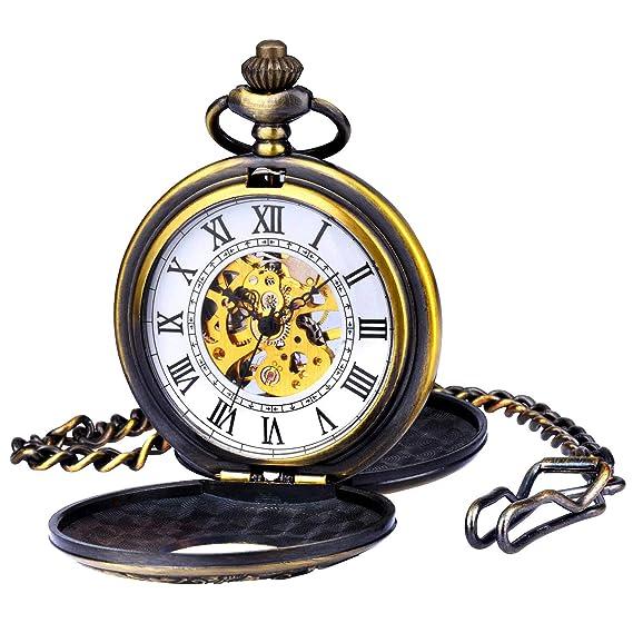 Reloj de Bolsillo para Hombre Zeiger Steampunk Reloj Mecánico Esqueleto Relojes Hombres Reloj de Bolsillo Retro