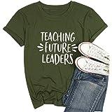 Women Teaching Future Leaders Tshirt Letters Print with Funny Sayings Casual Short Sleeve Teachers Shirt Teaching Shirt