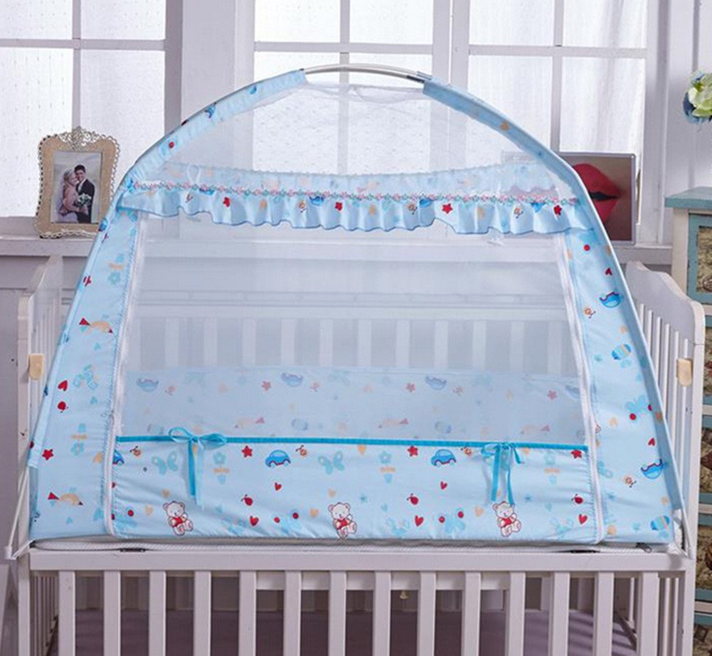 Skyseen Baby Crib Netting,27.6 x 43.3 Inch, Blue, Baby Bed Mosquito Net Tent, Kid Insect Mesh Cover