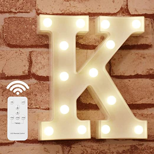 Pooqla Light Up Letters with Remote LED Marquee Letter Lights Alphabet Signs Timer Dimmable for Wall Table Wedding Home Party Bar Christmas Decoration, Letter K